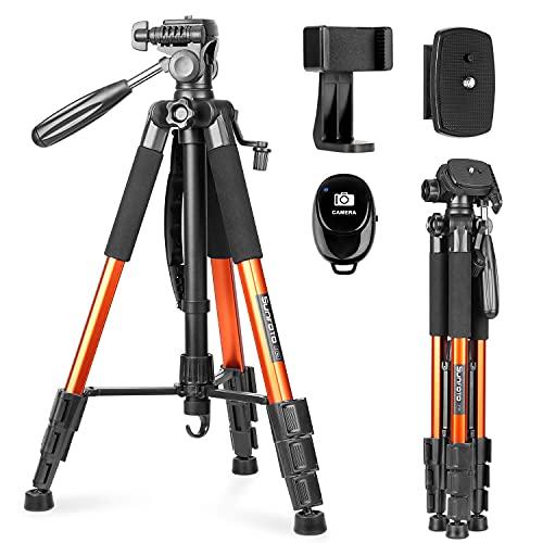 Reisestativ, Fotostativ, Kamera Stativ, Sunfoto 160cm Leichtes Stativ aus Aluminium mit 2 Schnellwechselplatte, Tragetasche, Handyhalterung für Smartphone DSLR SRL Canon Nikon Sony Olympus - Orange