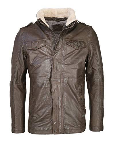 MUSTANG Reineke - Chaqueta de piel para hombre con hombreras, color marrón