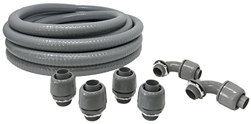 Sealproof Non-metallic Liquid-Tight Conduit and Connector Kit, 3/4-Inch 25 Foot Flexible Electrical Conduit Type B with 4 Straight and 2 90-Degree Conduit Connector Fittings, 3/4