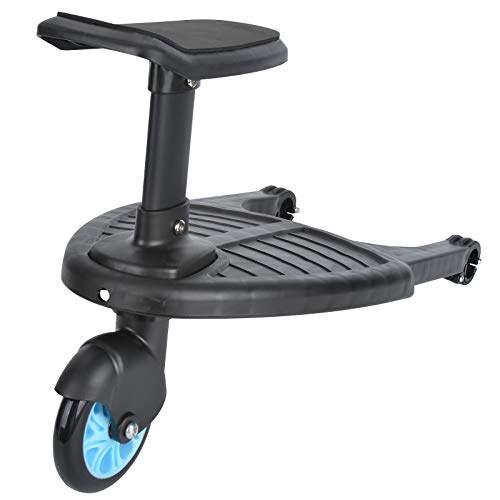Queiting Buggy Board with Seat Standing Board Baby Jogger Travel Pram Pushchair Buggy Board Seat Connectors Seat Removable and Assembling Blue