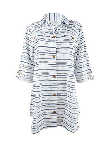 Dotti Baja Stripe Shirtdress Cover-Up Denim Large