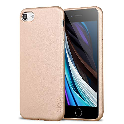 X-level iPhone SE 2020 Hülle, iPhone 8 Hülle, iPhone 7 Hülle, Soft Flex TPU Case Ultradünn Handyhülle Silikon Bumper Cover Schutz Tasche Schale Schutzhülle für iPhone 7/8/ SE (2020) - Gold