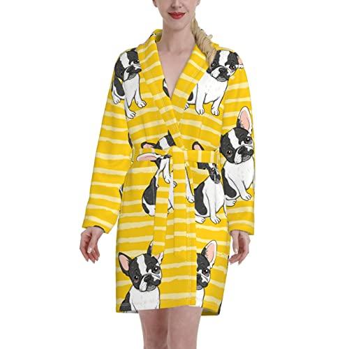 Cubirmin Fleece Robe for Women Men Cute French Bulldogs On Yellow Stripes Sexy V-Neck Nightwear with Pockets Super Soft Skin-friendly Lightweight Thick Winter Warm Loungewear for Couple 2XL