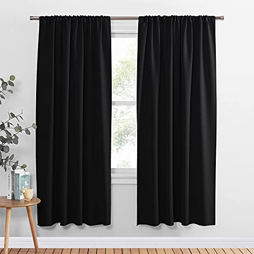 PONY DANCE Blackout Curtains 72 Long - Solid Rod Pocket Thermal Panels Black Out Window Cover Energy Efficient Light Blocking Drapes for Living Room, 42-inch by 72-inch, Black, 2 Pieces