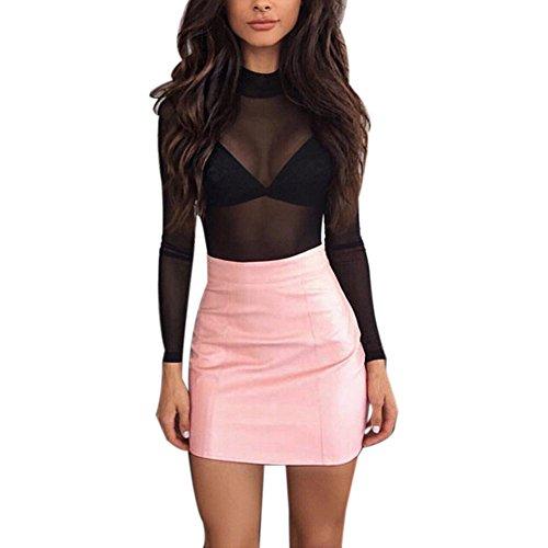 PinkLu Röcke Damen Lederrock Mit Hoher Taille Mode Wild Urlaub Am Meer Mode FrüHling Und Sommer Neuer HeißEr Brauner WeißEr Minirock
