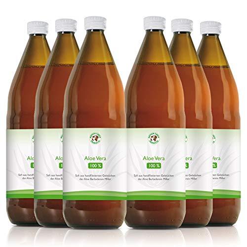 Aloe Vera Bio-Direktsaft 100% | Handfiletiert | Reich an natürlichen Inhaltsstoffen | Durchschnittlich 1200mg/l Aloverose | Braunglasflaschen | 6 x 1000ml