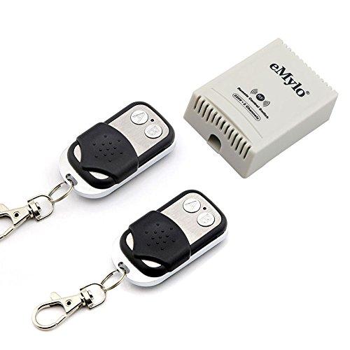 eMylo 10A AC 220V-230V-240V 1000W 2-Kanal-Funk-Smart-Fernschalter RF-Relaismodul Schalter Licht/Garagentor/Rollladenschalter, selbsthemmend, 2 Sender mit 1 Empfänger
