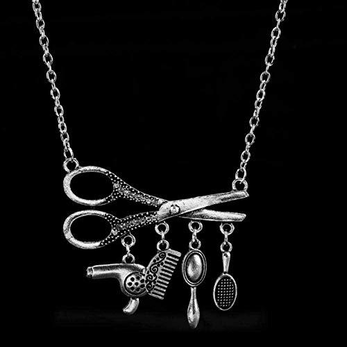 NC110 Herramientas de Collar Secador de Pelo/Tijera/Peine/Espejo Colgantes Collar Peluquería Peluquería Collar de Regalo YUAHJIGE