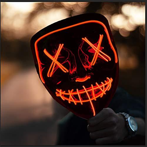 HONGXUNJIE LED Purga Mascara Carnaval Terror MáScaras,MáScara Disfraz Luminosa,para Carnival Navidad Halloween Cosplay Grimace Festival Fiesta Show Mascarada (Red)