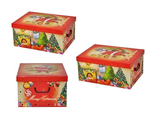 """3 Stück XXL Dekokarton, Geschenkkarton mit tollem Weihnachtsmotiv """"Weihnachtsmann"""" - kräftige Rote Farben und XXL Volumen!"""