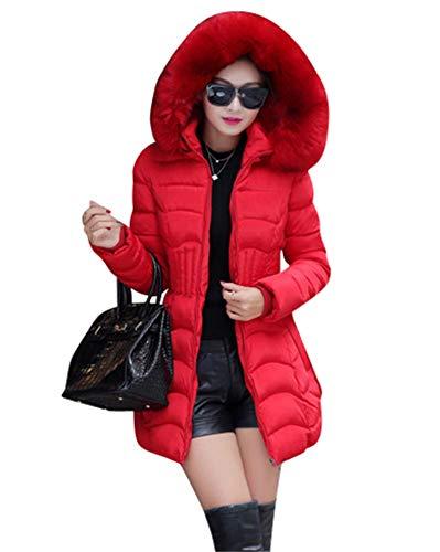 Mujer Abrigo Chaqueta Slim Fit Espesar Pelaje Collar Parka con Capucha Manga Larga Abrigos Outerwear Rojo Medium