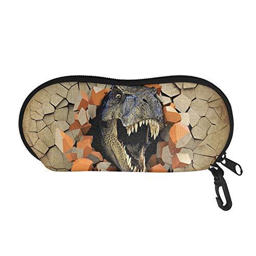 UOIMAG Estuche para gafas portátil y suave, con cremallera, bolsa de almacenamiento para gafas de sol, para mujeres, hombres, niños y niñas, 6-dino Wall, talla única