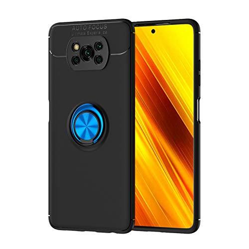 TANYO Hülle Geeignet für Xiaomi Poco X3 NFC (Pocophone X3 NFC), Ringhalterung Magnetic Car Mount Series, Ultradünn Weich Silikon TPU Handyhülle Und 360 °Drehbarer Halter. Blau+Schwarz