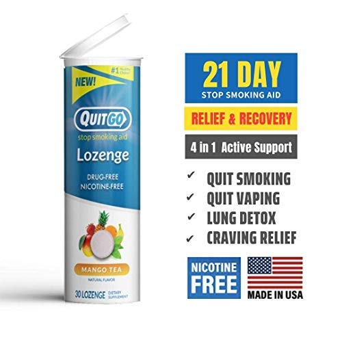 30 Pack QuitGo Lozenges for Relief + Recovery Before and After Quitting Smoking to Help with Craving Prevention, Maintain Healthy Breathing, Safe & Natural Alternative (Mango Tea)