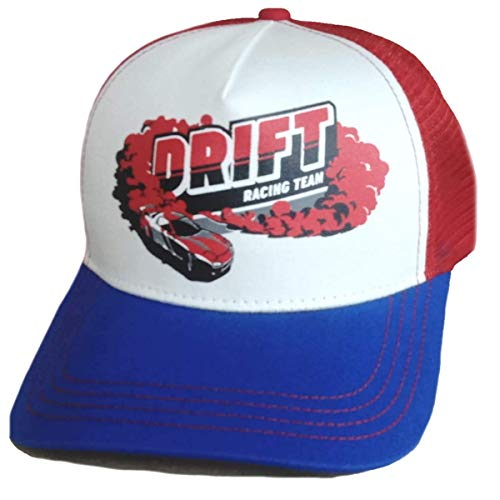 Trucker Mesh Baseballcap Drift Racing Team JDM Auto Turbo Tuning Cap Snapback Sommer (blau/rot/weiß)