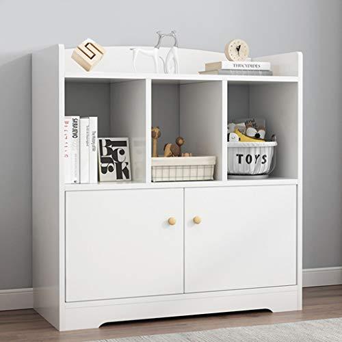 Fiudx Bookshelf,Bookcase for Kids Room,Bookshelf with 2 Storage Cabinet,White Floor Cabinet,Bookcase with Door,Display Shelf Book Storage Organizer Book Rack