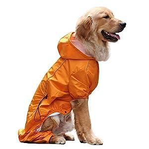 EVELOVE Large Dog Rain Jacket Poncho Waterproof Clothes with Hood Dog Raincoat with Safe Reflective Stripes for Small Medium Large Pet
