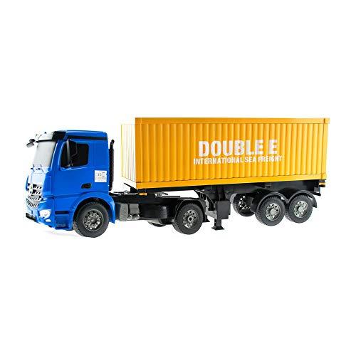 efaso 1:20 RC LKW mit Container - Mercedes Arocs Lizenzfahrzeug E564-003 - 2,4 GHz Baustellenfahrzeug mit Licht und Sound, Heben und Senken der Stützfüße, An- und Abkoppeln der Zugmaschine