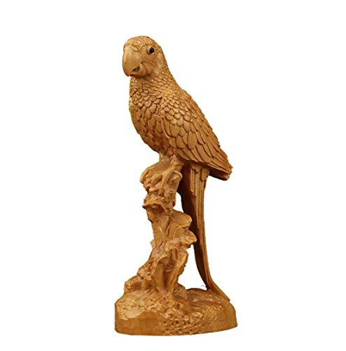 ZLJ Estatua de búho Wenwan Material de Madera de boj decoración del hogar jardín Patio Escultura Animal Adorno de Animales