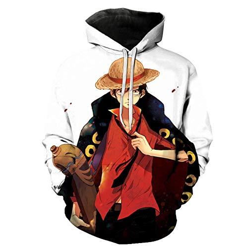 WANGYOYOT One Piece, Sudadera Sudadera con Capucha Estampada En 3D para Hombre Suelta