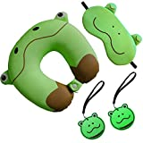 NIDO NEST Kids Travel Adventure Gift Pack - Includes Cute Neck Pillow, Sleeping Mask & Set of...