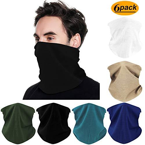 FAYBOX 6pcs Magic Wide Wicking Headbands Outdoor Headwear Bandana Sports Scarf Tube UV Face Mask for Workout Yoga Running Hiking Riding Motorcycling