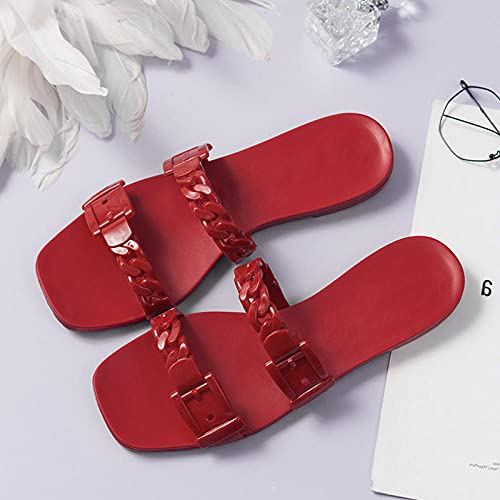 Ririhong Zapatillas de plástico Planas de Estilo Nuevo para Primavera y Verano, Chanclas de Cadena, Sandalias de Playa, Zapatos de gelatina de Moda-Green_36