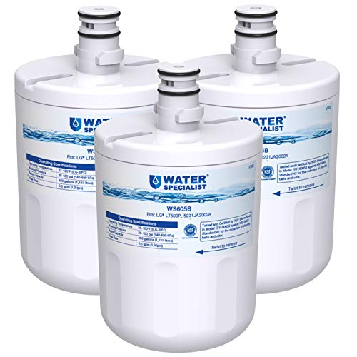 Waterspecialist 5231JA2002A Refrigerator Water Filter, Replacement for LG LT500P, GEN11042FR-08, LFX25974ST, ADQ72910901, ADQ72910907, Kenmore 9890, 46-9890, 469890 (Pack of 3)