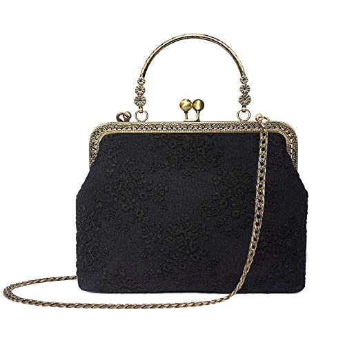 Rejolly Women Vintage Kiss Lock Evening Bag Lace Purse Shoulder Handbag Top Handle Bag Black