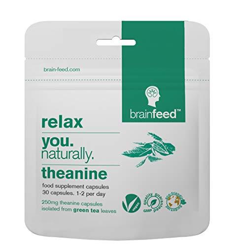brain feed Cápsulas de Teanina l Naturalmente Vegana l 250mg de Teanina en polvo de extracto de té verde orgánico en cápsulas l Ayuda a la relajación sin sedación l Suplemento GABA l
