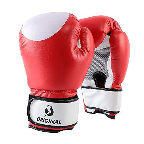 Guantes de Boxeo Transpirables 8oz 10oz 12oz 14oz PU Guantes de Cuero Puño Protector para Saco de Boxeo, Kickboxing, Muay Thai, MMA,Red,14oz