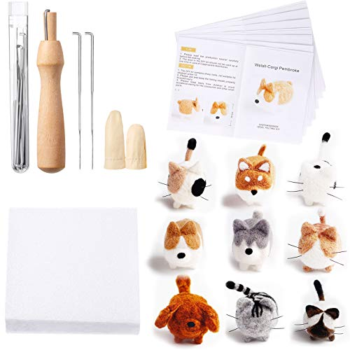 10 Pieces Doll Making Manual Needle Felting Kit for Beginner Starter with Instructions, Felting Foam Mat and DIY Needle Felting Supplies for Children's Day, Festival Crafts