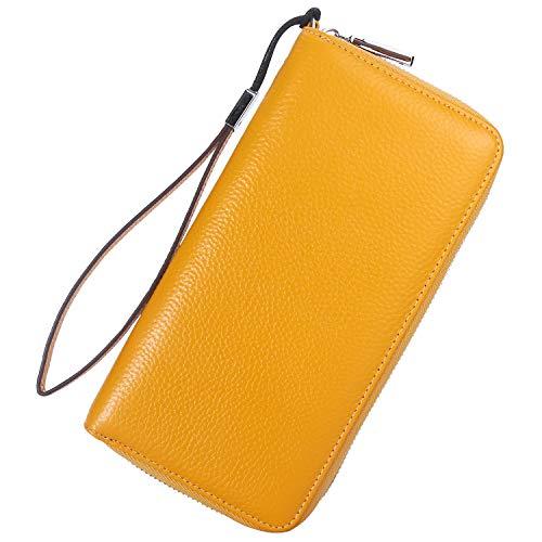 Lavemi Women's RFID Blocking Leather Zip Around Wallet Large Phone Holder Clutch Travel Purse Wristlet(Large Size Pebbled Yellow)