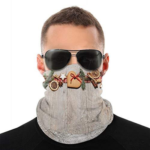 MSGDF - Sciarpa a testa di vario tipo 3D, con motivo natalizio, con rami di abete, spezie e biscotti su tavola di legno, resistente alla polvere e al vento