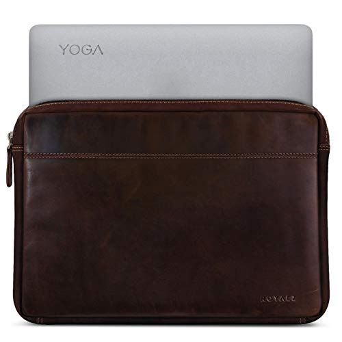 ROYALZ Tasche für Lenovo Yoga 920 Ledertasche (auch für Yoga 910, Yoga 900s & Yoga 900 geeignet) Lederhülle Hülle Schutztasche Schutzhülle Cover Sleeve Vintage Leder, Farbe:Dunkel Cognac Braun