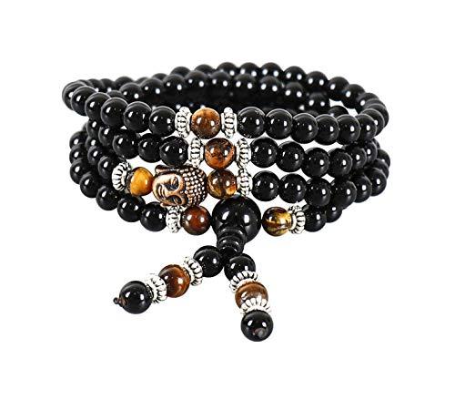 Pulsera de Piedra Natural Ónice Ojo de Tigre, Recuperando Zen, 108 Perlas de Oración de Mala con Dije de Buda, Pulseras Budistas para Yoga, Meditación, Collar para Hombres y Mujeres