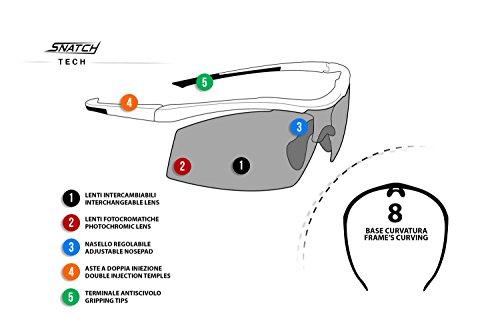 Radbrille Selbsttönend Polarisiert – Fahrradbrille Photochrome Sportbrille Sonnenbrille Ski Laufen Golf Running by Snatch Italy (Matt Schwarz / Shiny Schwarz, Photochromen) - 5