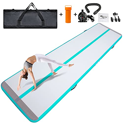 DAMA Inflatable Gymnastics Training Mats Tumbling Mat Home Use Gym mats Direct Gymnastics Mat Folding Tumbling Exercise Mat Cheerleading, Yoga Mat with Electric Pump Grey Minit Green 16.4ftX3.3ftX4in