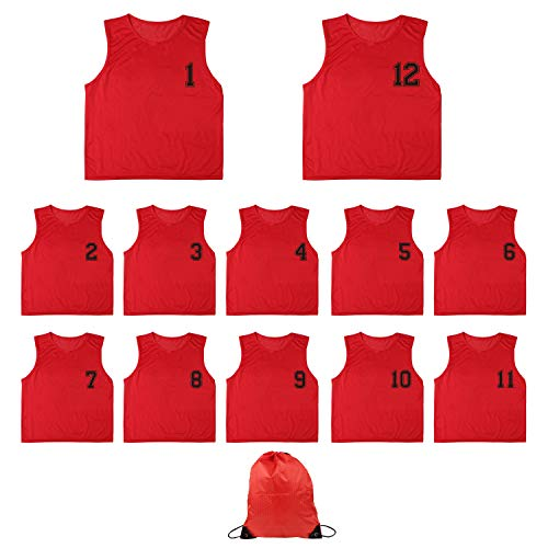 Mesh Scrimmage Training Vest(12-Pack) Nylon Numbered Practice Jerseys for Adult Youth Sports Basketball, Soccer, Football(Red)(L)