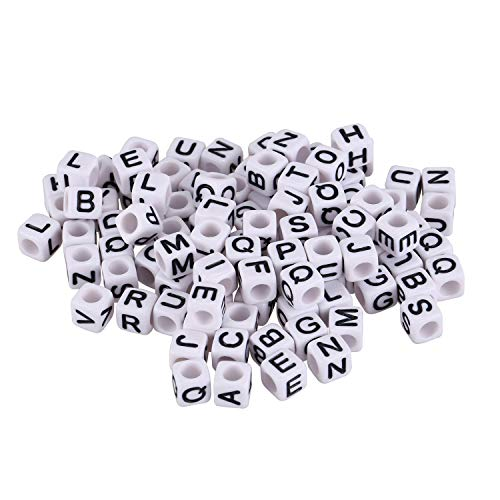 tellaLuna Cuentas de letras, 100 piezas, negro/blanco, telar bandz, dados, pulsera