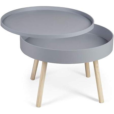 LIFA LIVING Table Basse Salon Grise, Table Basse Ronde avec Rangement, Table de Chevet, Forme Ronde avec Quatre Pieds, Bois en Caoutchouc, 60 x 60 x 44 cm
