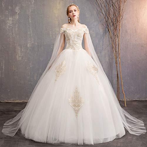 BGGYF Hochzeitskleid Elegantes cremefarbenes Brautkleid mit Jacke von der Schulter appliziert Ballkleid Brautkleider Aushöhlen Abendkleid