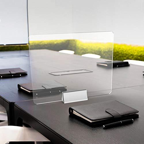 QJKai Trasparente Pannelli di Protezione in Plexiglass,50x40cm / 19.5x15.6in,Pannello in Plexiglass con Base per Bancone, Scrivania