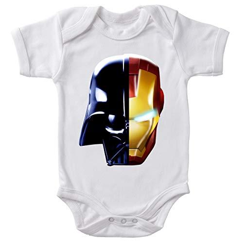Body bébé Manches Courtes Blanc Parodie Star Wars - Iron Man - Dark Vador, Iron Man et Daft Punk - Dark Punk - Get Darky : (Body bébé de qualité supérieure de Taille 9 Mois - imprimé en France)