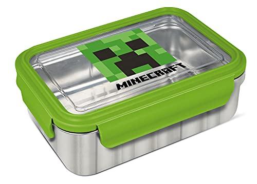 Pos 34008 - Fiambrera de acero inoxidable con diseño Minecraft (cierre de clip, antigoteo, aprox. 19,5 x 14,2 x 7,2 cm), multicolor