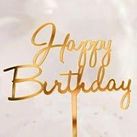 アクリル ケーキトッパー 筆記体 バースデー 誕生日 お誕生日 デコレーション ケーキ 飾り 手作りケーキ ケーキ専用 誕生日ケーキ (ゴールド)