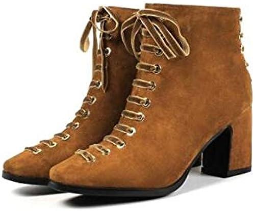 IWxez botas de Moda para mujer botas de Gamuza Piel de Oveja Tacón Grueso Botines con Punta Cerrada Botines negro marrón Claro