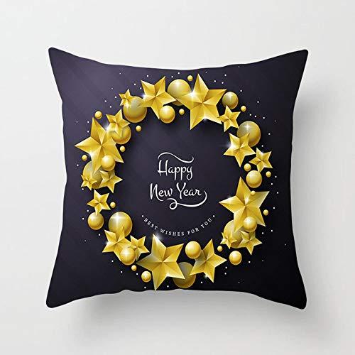 Christmas Cushion Covers,Merry Christmas Decorations For Home Black Gold Deer Tree Cushion Cover Christmas Ornament Decor Table Xmas Gift New Year For Living Room Sofa Couch Bed Pillow Cases,V,14