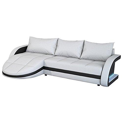 Eck-Sofa weiß-schwarz in Leder-Optik: Edle Designer Couch mit LED, großer 3 Sitzer, 265 cm breit, Leder-Sofa mit 156 cm tiefer Recamiere / Ottomane, links & rechts montierbar | Wohnlandschaft | Made in EU