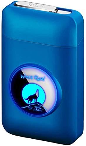 Luowan Pitillera con Mechero, LED Gráfico, 2 en 1, Portable Electrónico Llama, Recargable, Caja de cigarrillos, Elegante Diseño Recargable, Azul